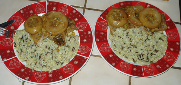 Apple pork chops with caramelized onions and wild rice.