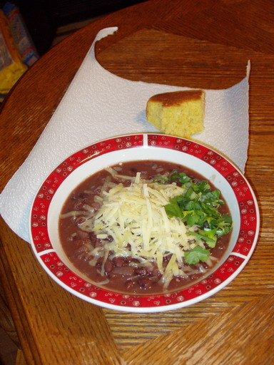 Vegetarian Black Bean Soup with Cornbread