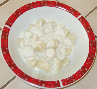 Gnocchi with alfredo sauce.