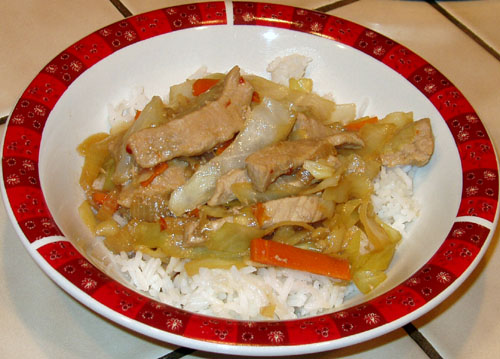 Pork and cabbage stir fry