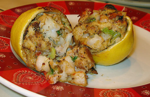Seafood-stuffed Lemon