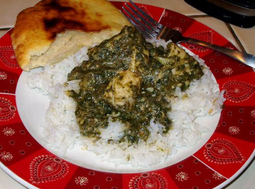 Chicken Saag with rice and naan