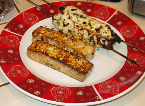 Pan-fried tofu satay and broiled chicken satay