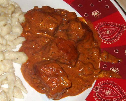 Chicken Paprikash and spätzle