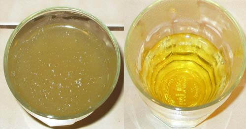 Stock on the left, Consommé on the right