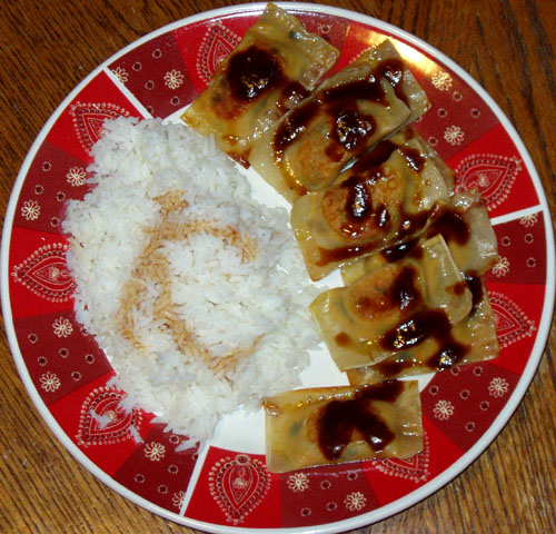 Curried Pot Stickers with sauce