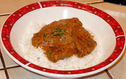 Beef with Curried Tomato Almond Sauce