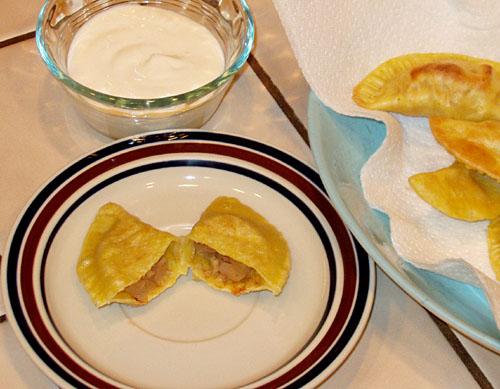 Apple ginger pierogi with fruit dip